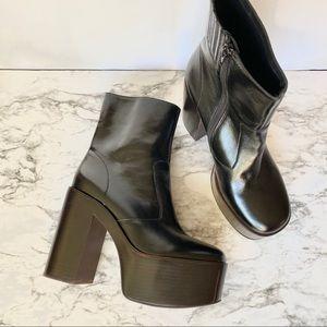 Jeffrey Campbell Retro Platform Leather Boots 10